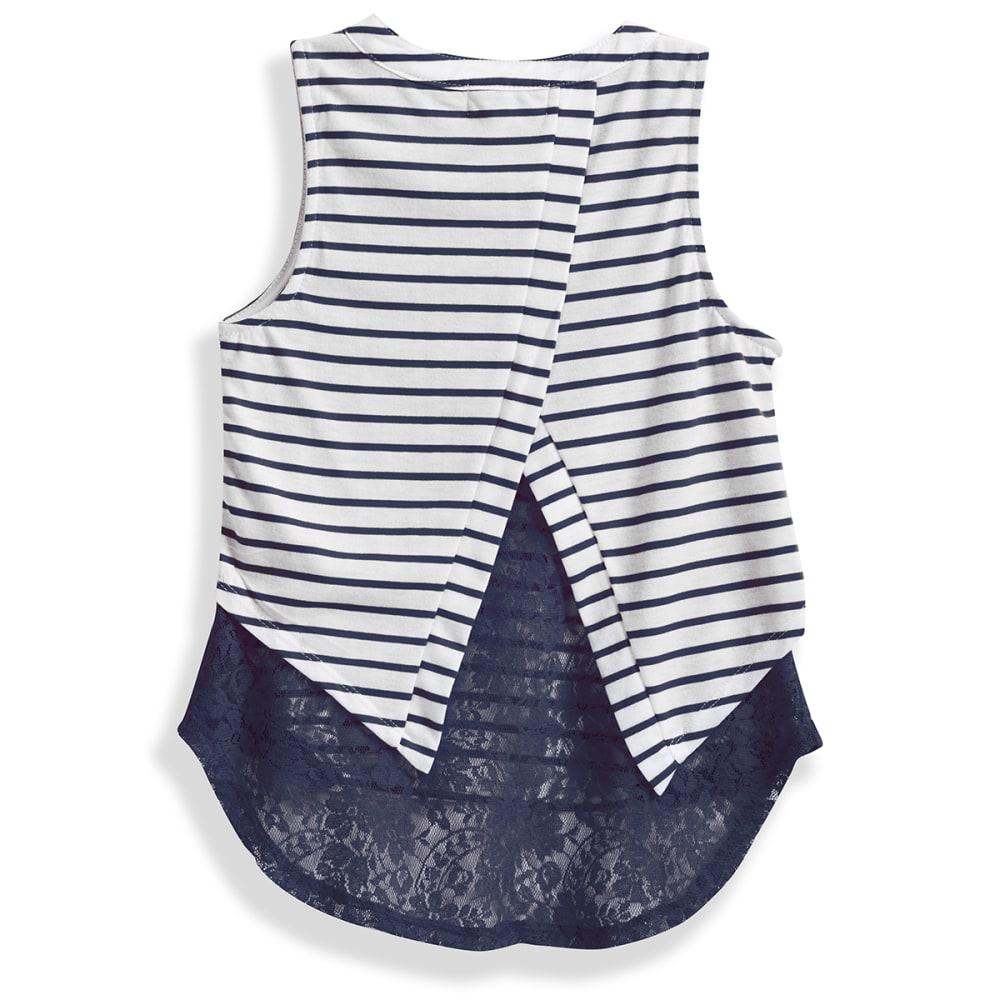 LA CONDUCT Girls' Striped Cap Sleeve Tee with Floral Hem - 5- NAVY- IVORY/AQUA