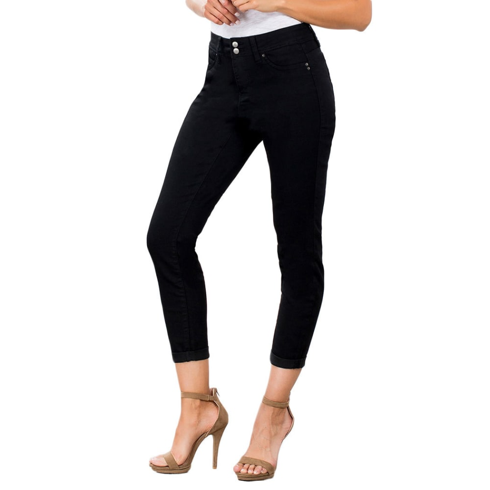 ROYALTY Women's Wanna Betta Butt Two-Button Cuffed Anklet Jeans - BLACK