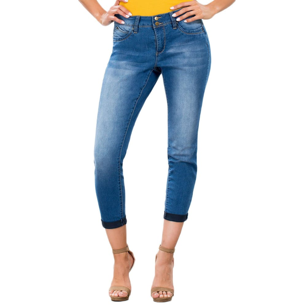 ROYALTY Women's Wanna Betta Butt Two-Button Cuffed Anklet Jeans - M08-MED WASH
