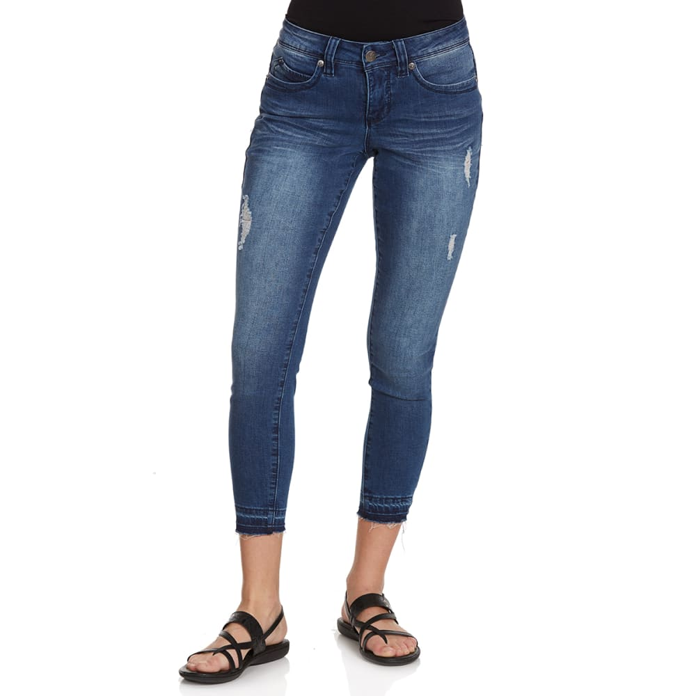 ROYALTY Women's Wanna Betta Butt Slim-Fit Anklet Jeans with Released Hem - N387-MED WASH