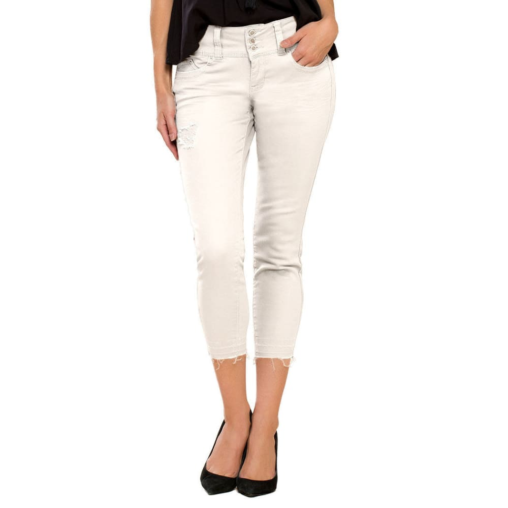 ROYALTY Women's Twill Triple Button Jeans - WHITE