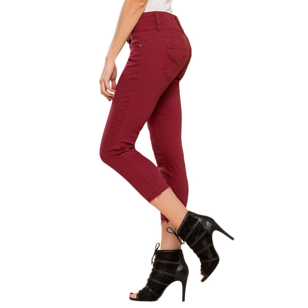 ROYALTY Women's Twill Triple Button Jeans - RASPBERRY