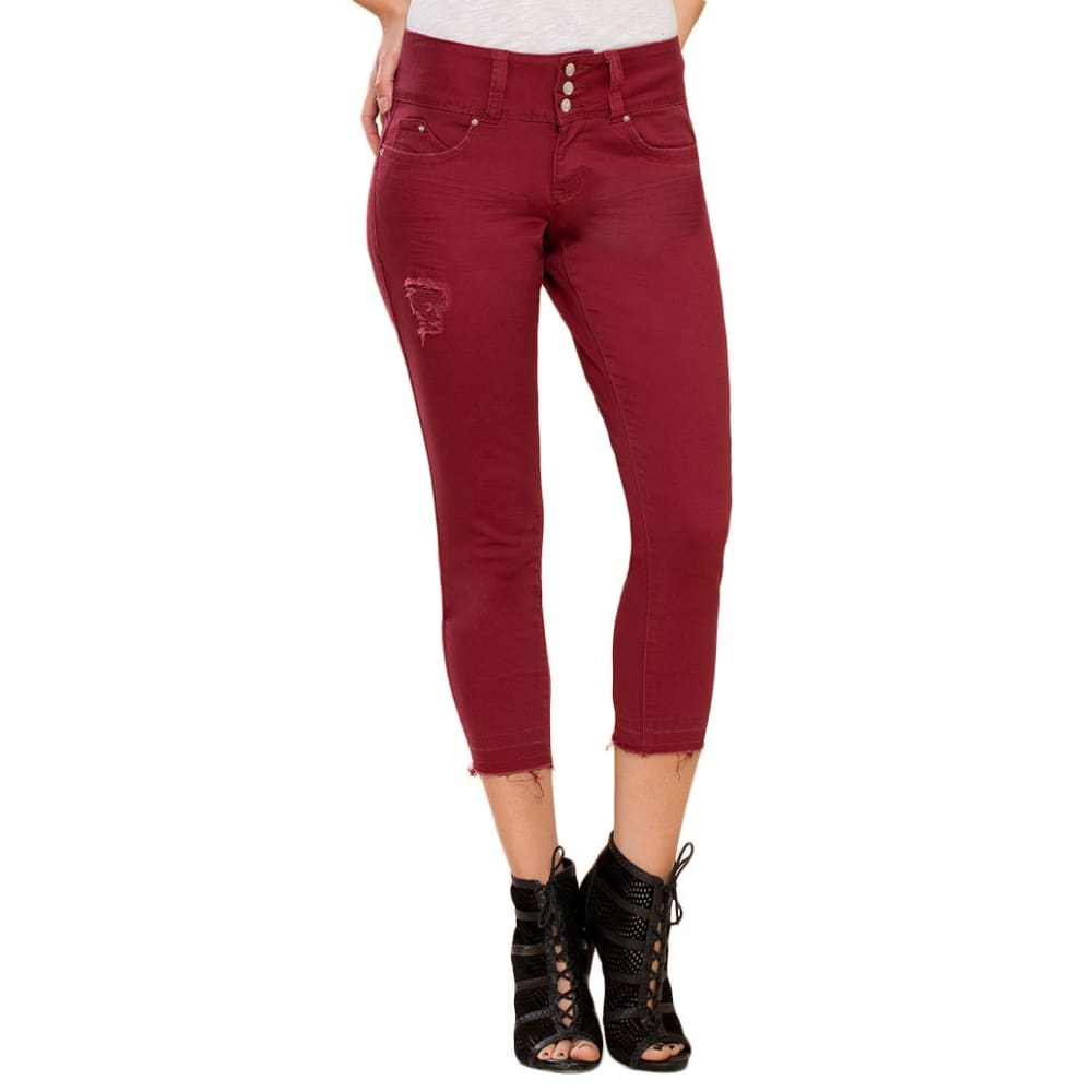 ROYALTY Women's Twill Triple Button Jeans - RASPBERRY