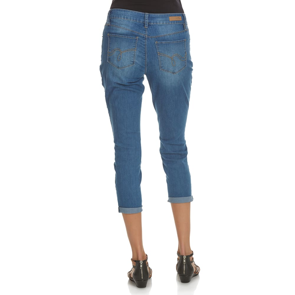ROYALTY Women's Roll Cuff Anklet Jeans - M78-MED WASH