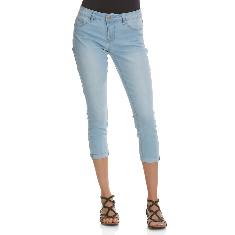 ROYALTY Women's Roll Cuff Anklet Jeans - Q78-LT WASH