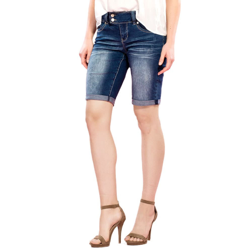 ROYALTY Women's Wanna Betta Butt Double-Button Bermuda Shorts - N439-DARK WASH