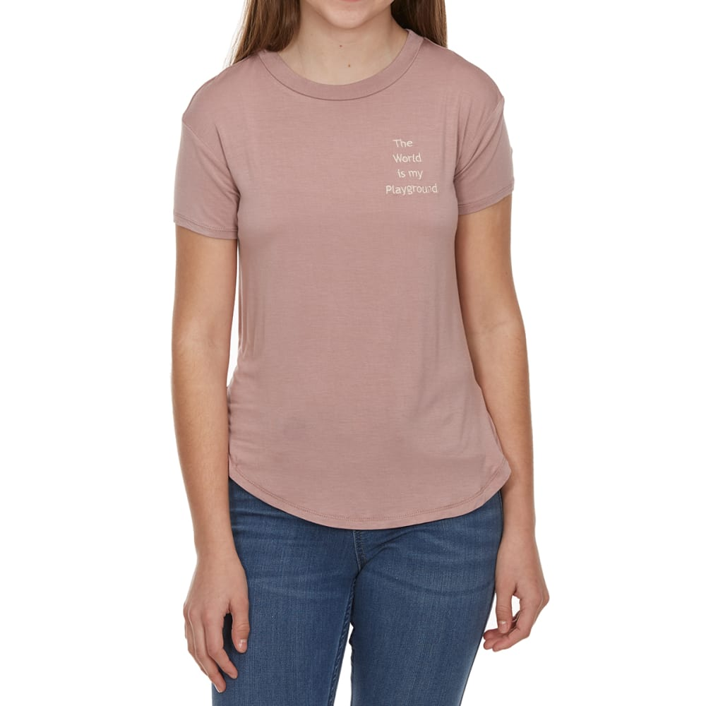 """MISS CHIEVOUS Girls' """"The World is My Playground"""" High-Low Emblem Short-Sleeve Tee - FROSTY BLUSH"""