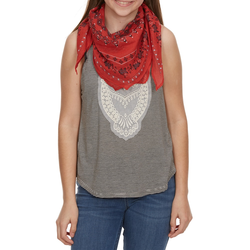 MISS CHIEVOUS Girls' Three-Layer Owl Sleeveless Striped Top with Bandana Scarf - OWL- WHITE/BLACK