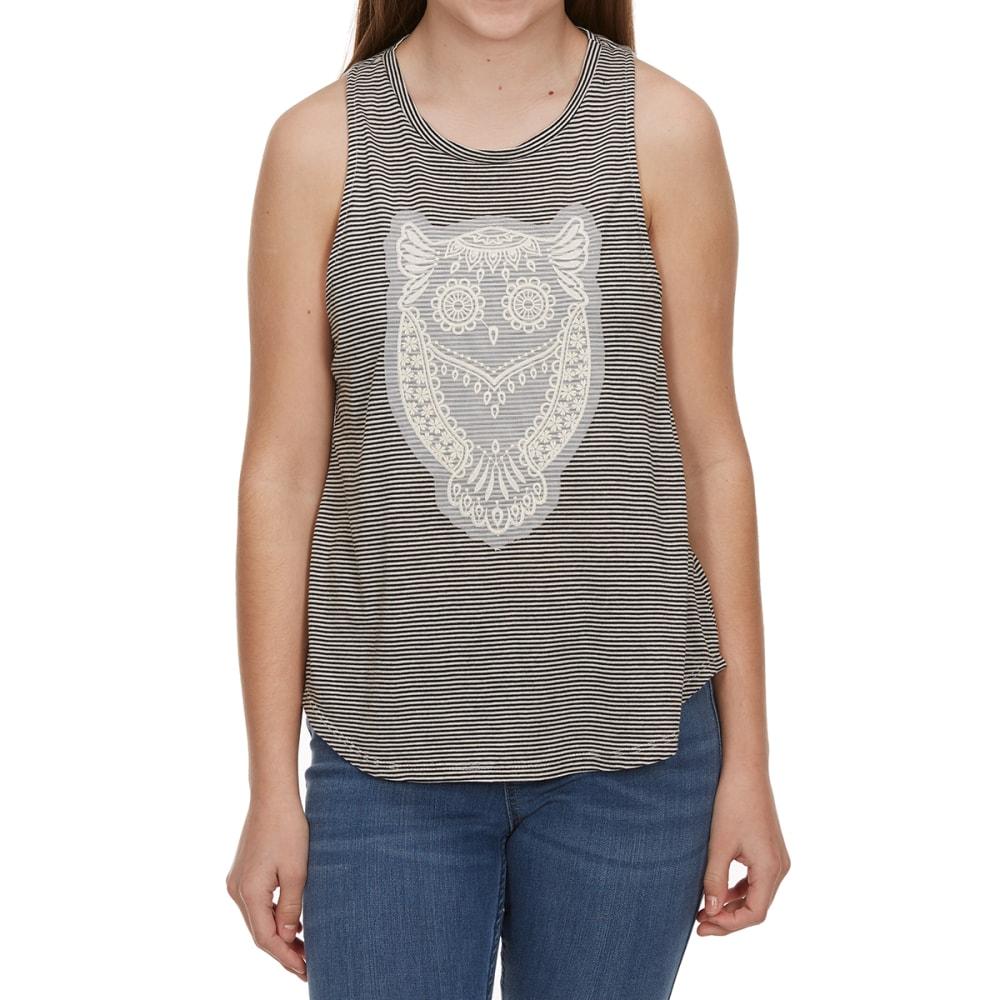 MISS CHIEVOUS Girls' Three-Layer Owl Sleeveless Striped Top with Bandana Scarf - OWL- WHITE/BLACK
