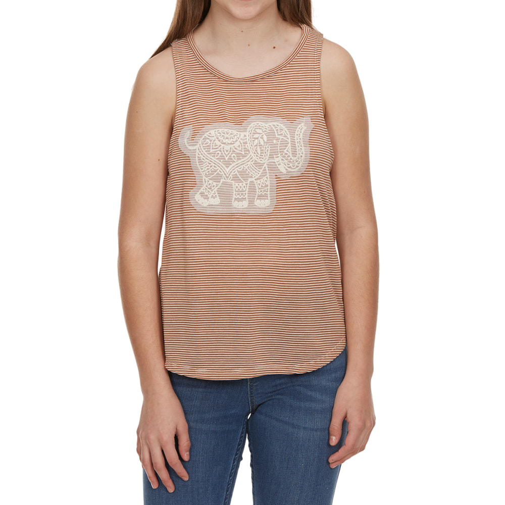 MISS CHIEVOUS Girls' Three-Layer Elephant Sleeveless Striped Top with Bandana Scarf - ELEPHANT-COPPERPENY/