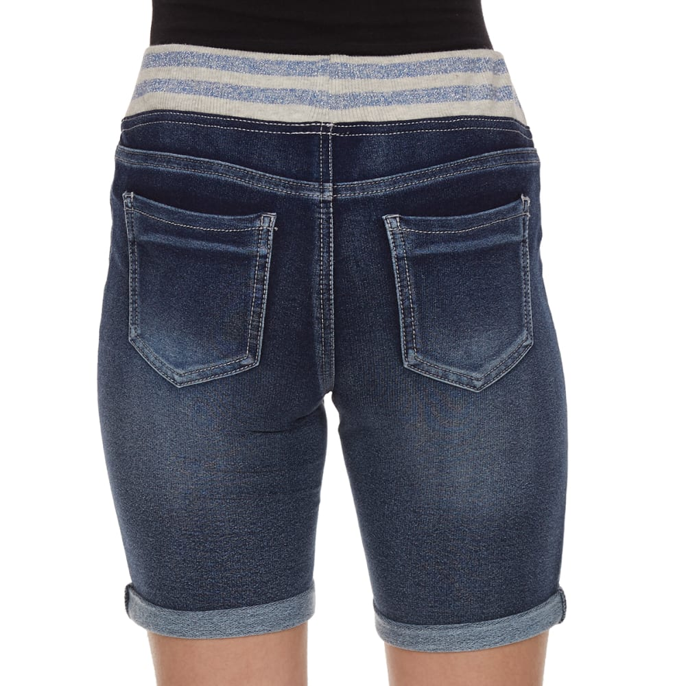 VANILLA STAR Girls' Knit Bermuda Shorts With Striped Knit Waistband - ROWAN WASH