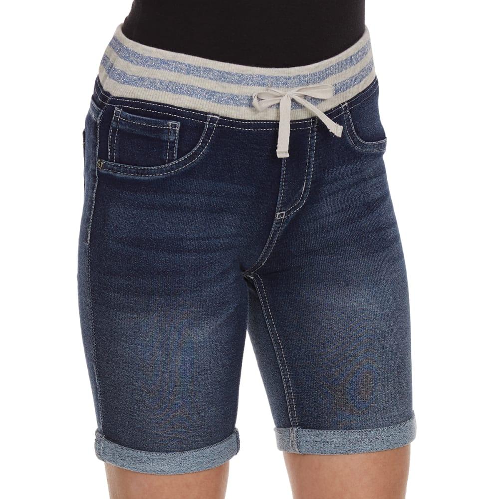 VANILLA STAR Girls' Knit Bermuda Shorts With Striped Knit Waistband - ROWAN WASH