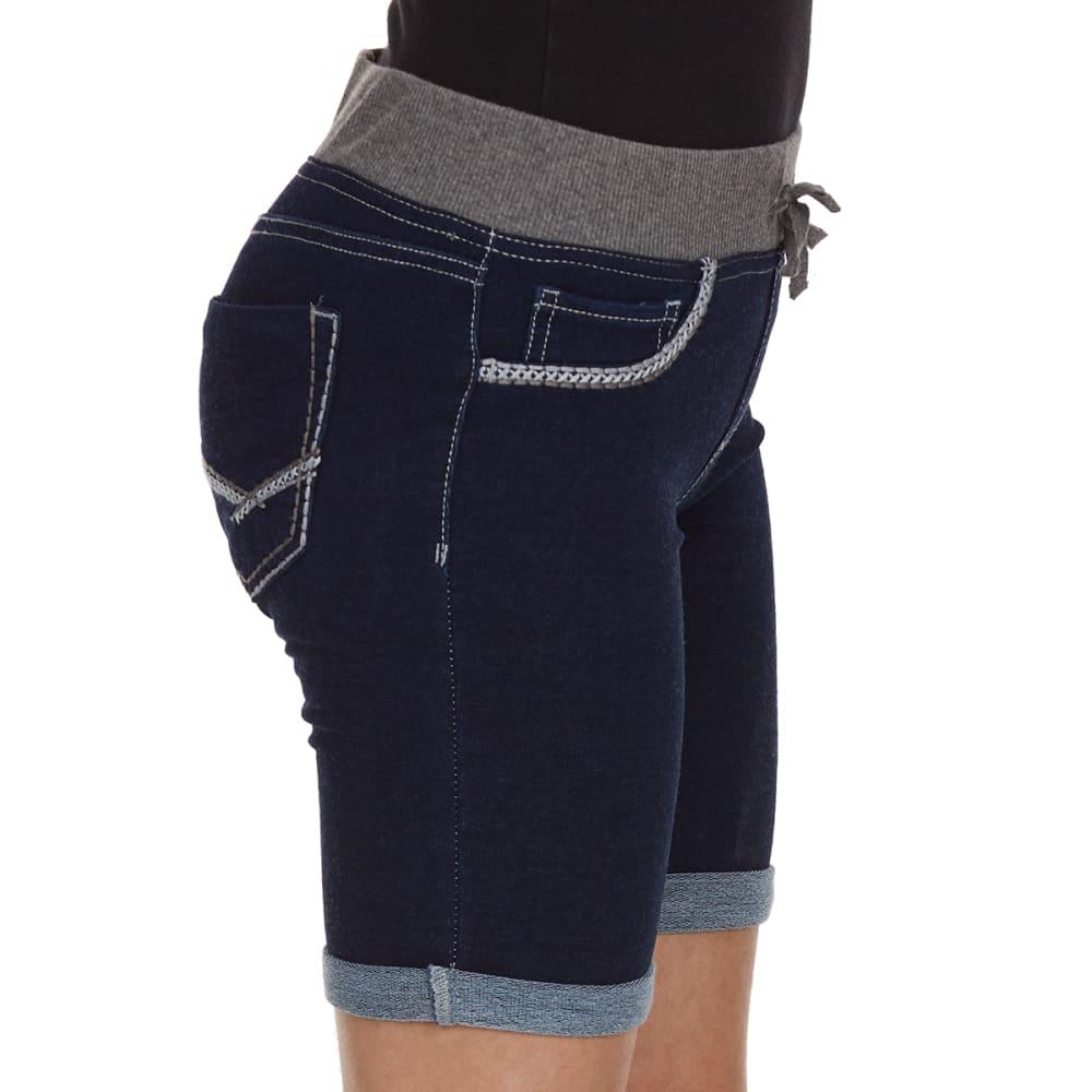 VANILLA STAR Girls' Knit Bermuda Thick Stitch Shorts - DARK CASTLE WASH