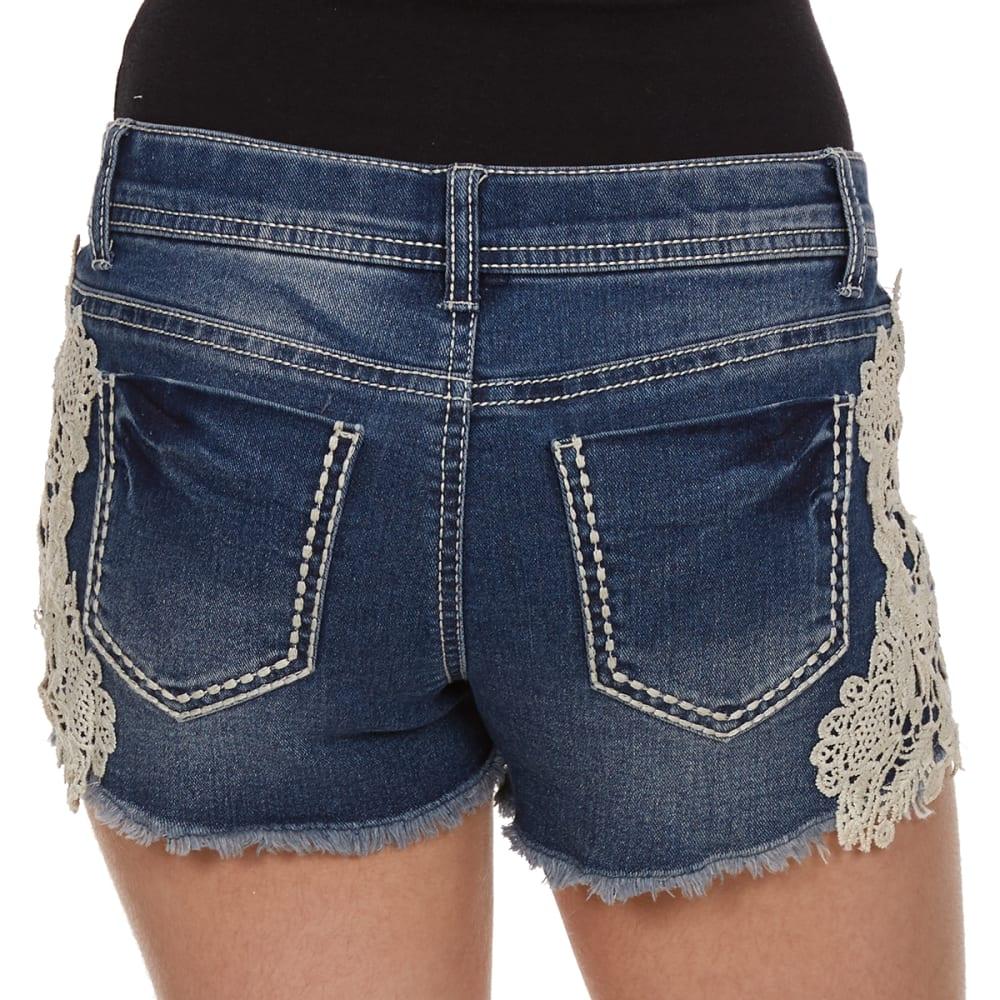 VANILLA STAR Girls' Side Crochet Denim Shorts - MARILYN WASH