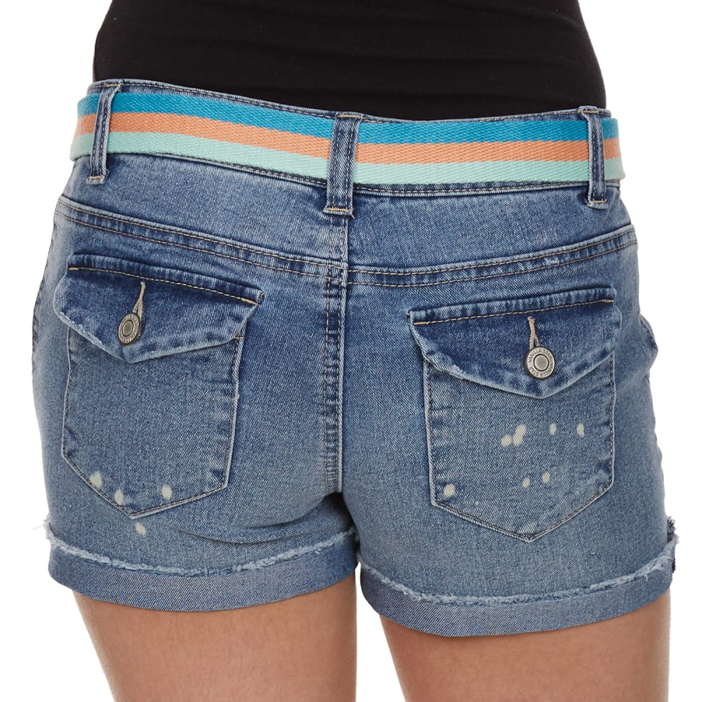 VANILLA STAR Girls' Splatter Belted Denim Shorts - MADELINE WASH