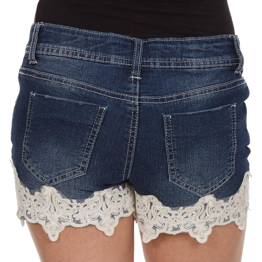 VANILLA STAR Girls' Bottom Crochet Denim Shorts - DARK MARILYN WASH