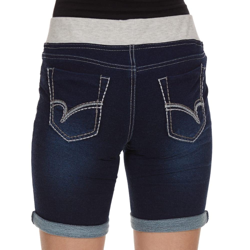 VANILLA STAR Girls' Knit Denim Bermuda Shorts with Knit Waistband - LOCKER ROOM WASH