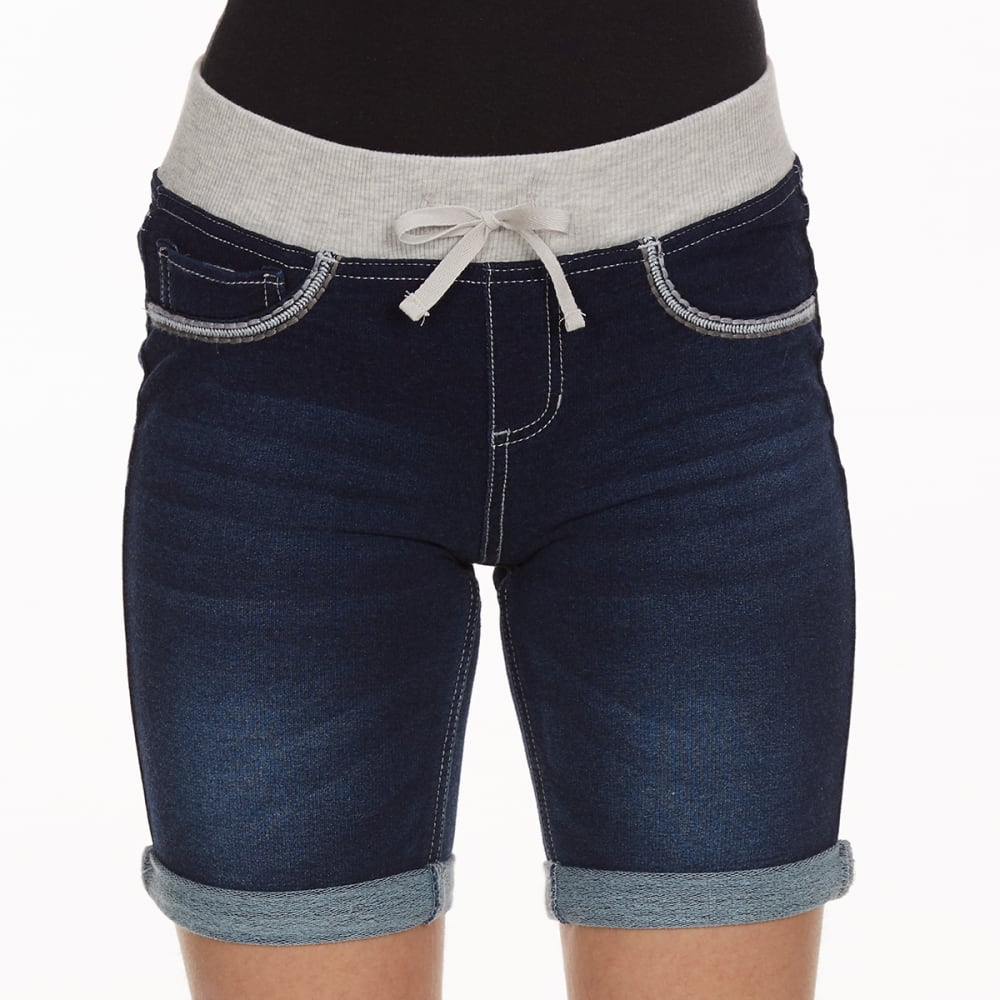 VANILLA STAR Girls' Knit Denim Bermuda Shorts with Knit Waistband - LOCKER ROOM WASH