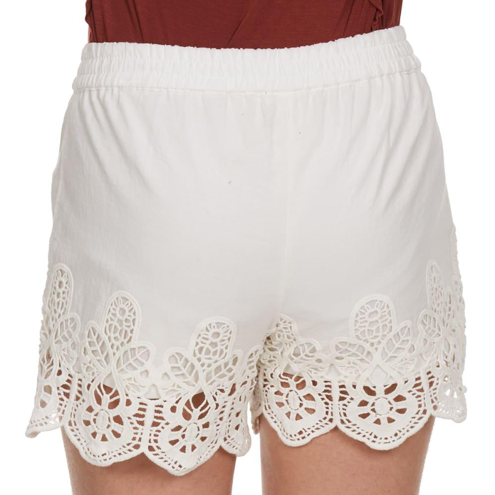 VANILLA STAR Girls' Solid Crochet Tassle Tie Shorts - NATURAL