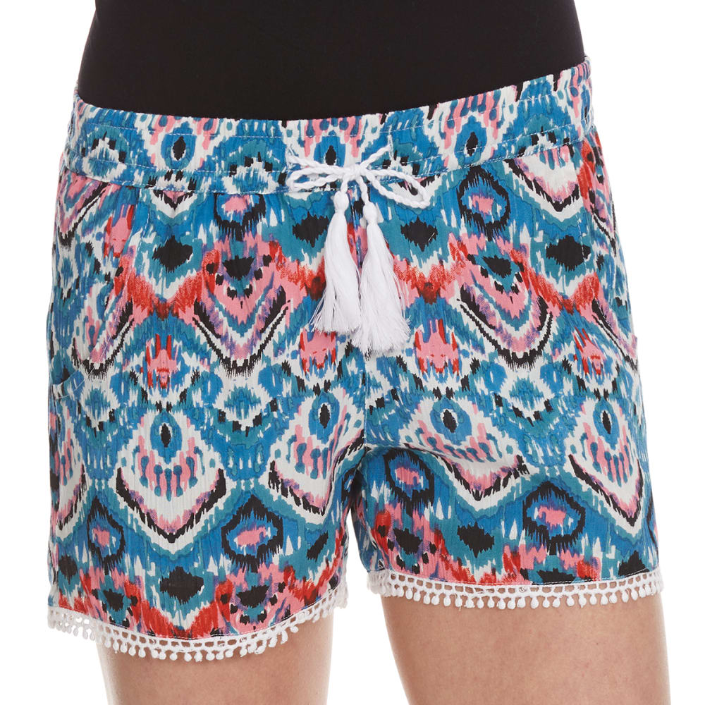 VANILLA STAR Girls' Printed Challis Shorts with Tassel - BRIGHT ABSTRACT