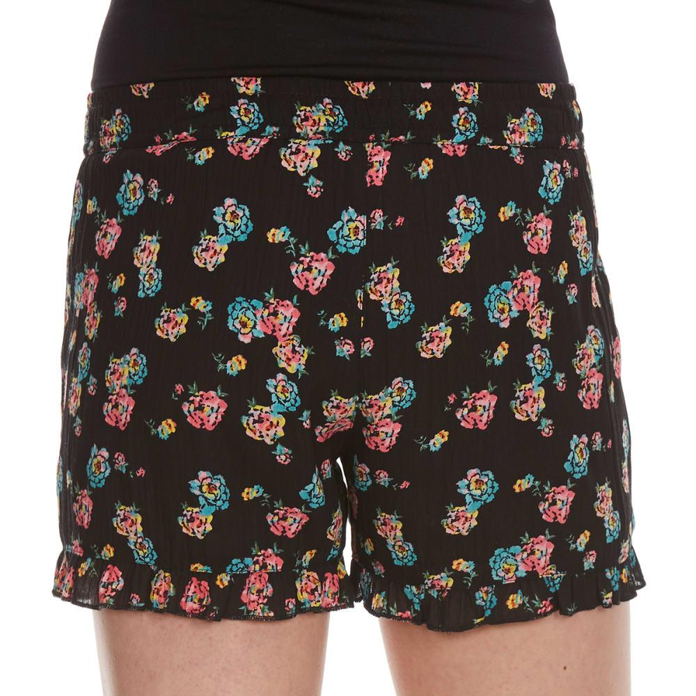 VANILLA STAR Girls' Printed Challis Shorts with Tassel - BLACK FLORAL