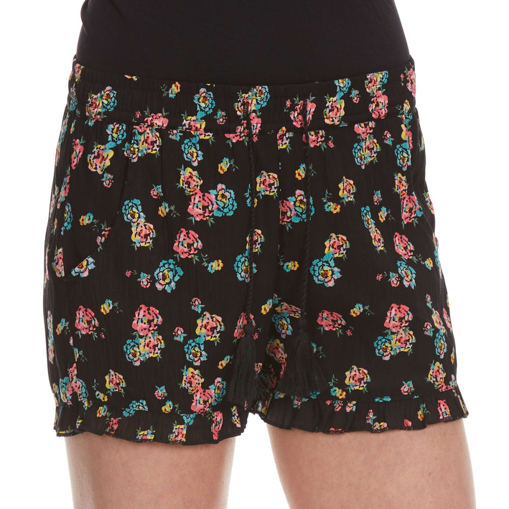 VANILLA STAR Girls' Printed Challis Shorts with Tassel - BLACK FLORAL