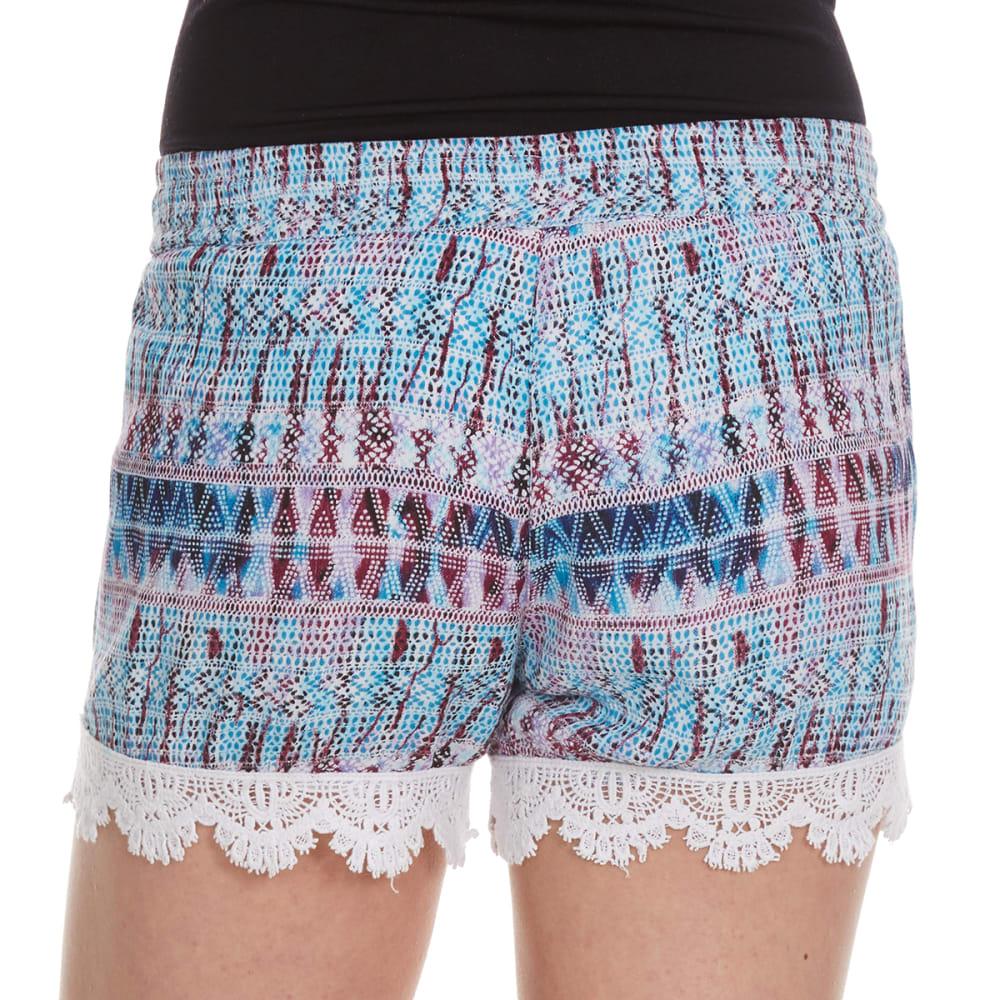 VANILLA STAR Girls' Printed Challis Shorts with Tassel - BLUE PIXEL