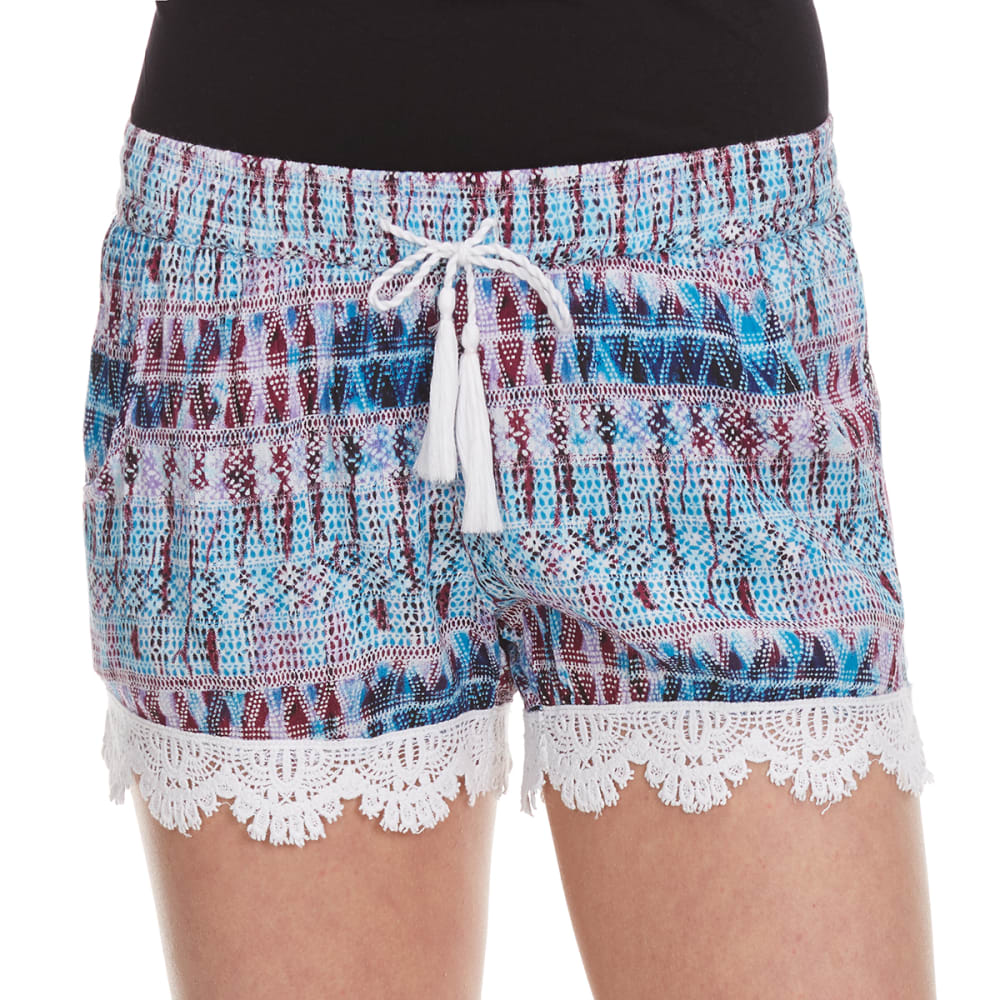 VANILLA STAR Girls' Printed Challis Shorts with Tassel - BLUE PIXEL