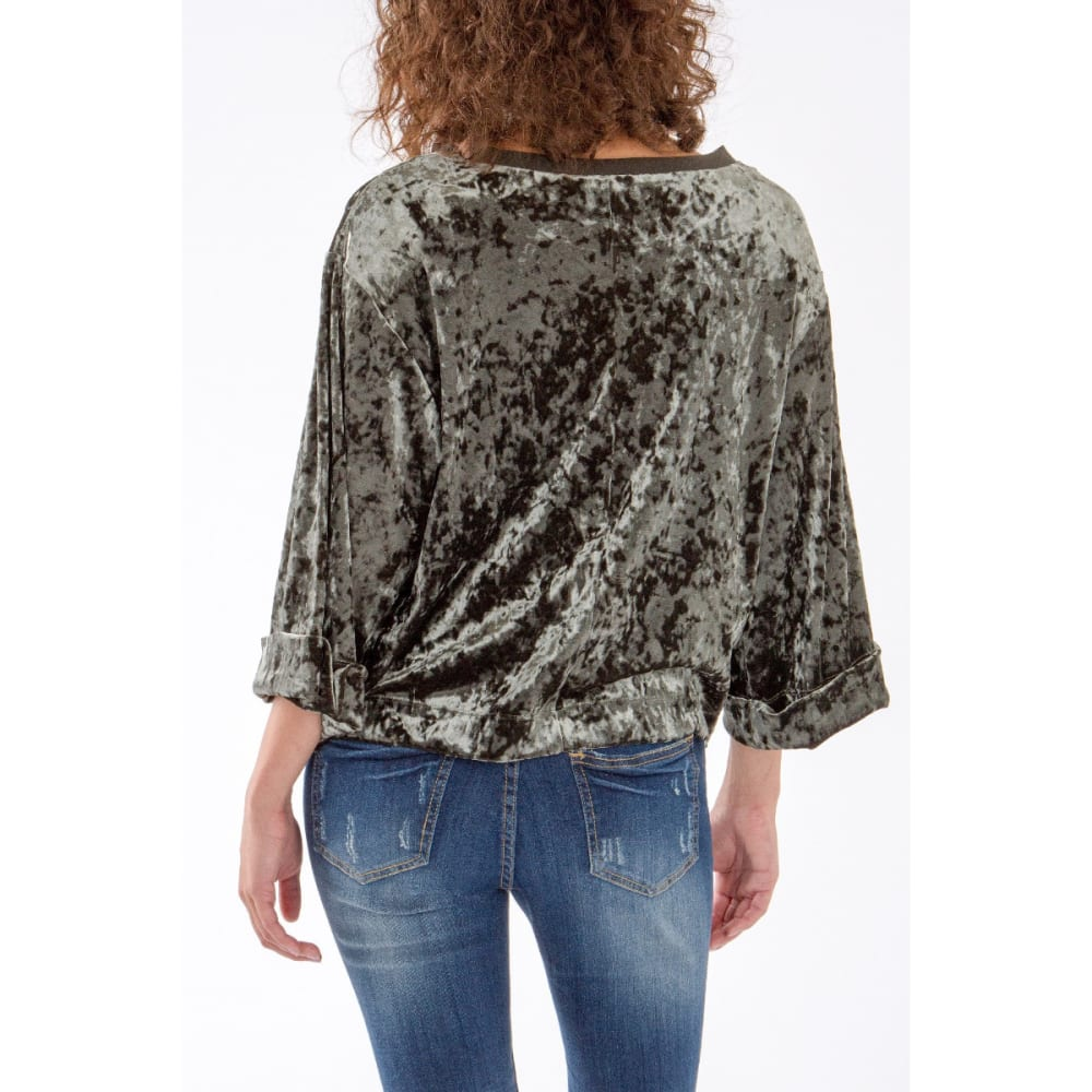 UNION BAY Women's Crushed Velour Luna Top - 065J-PETROL