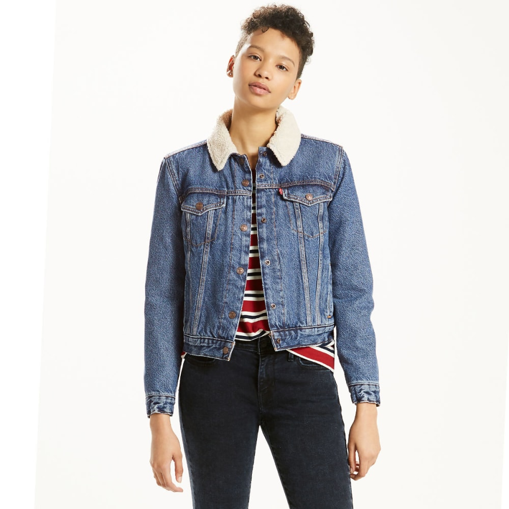 LEVI'S Women's Thermore Trucker Jacket - 0001-BLUE ON MARS