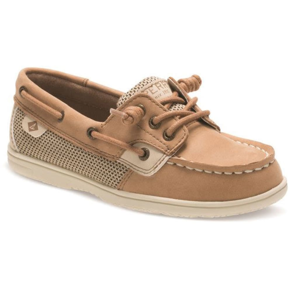 SPERRY Girls' Shoresider 3-Eye Boat Shoes, Linen Oat - LINEN OAT
