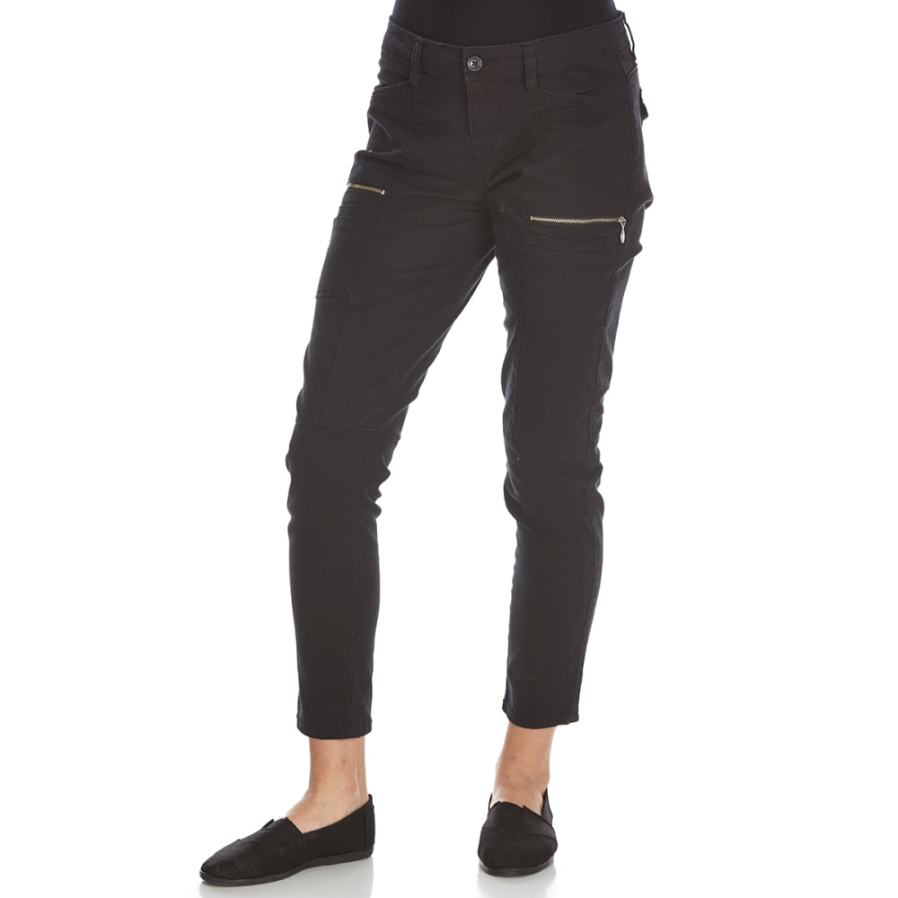 SUPPLIES BY UNIONBAY Women's Claire Moto Twill Skinny Ankle Pants - 001J-BLACK