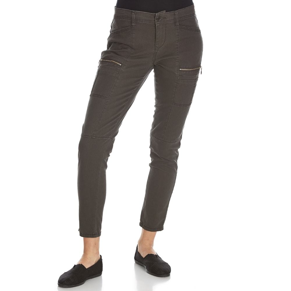 SUPPLIES BY UNIONBAY Women's Claire Moto Twill Skinny Ankle Pants - 093J-ECLIPSE