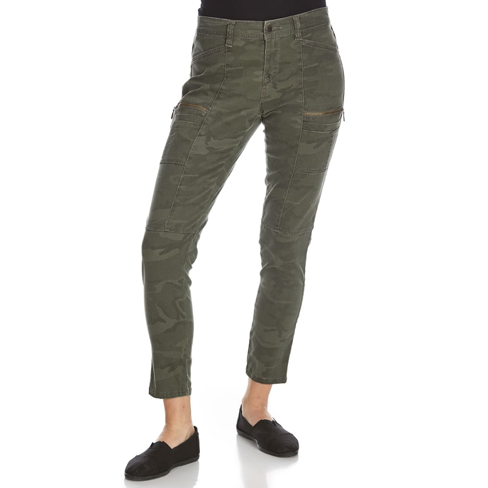SUPPLIES BY UNIONBAY Women's Claire Camo Moto Skinny Ankle Pants - 396J-GREENBELT
