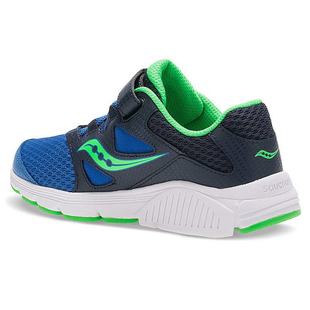 SAUCONY Boys' Grade School Kotaro 4 A/C Running Shoes, Navy/Green, Wide - NAVY