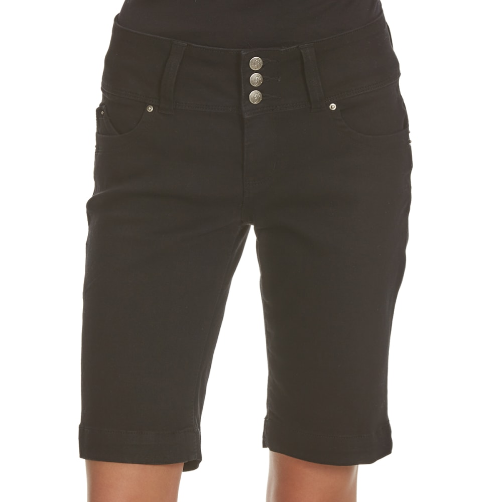 ROYALTY Women's Wanna Betta Butt 3-Button Bermuda Shorts - W37-BLACK