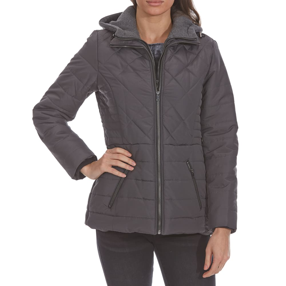 DETAILS Women's Fleece Bib Puffer Jacket - HEMATITE