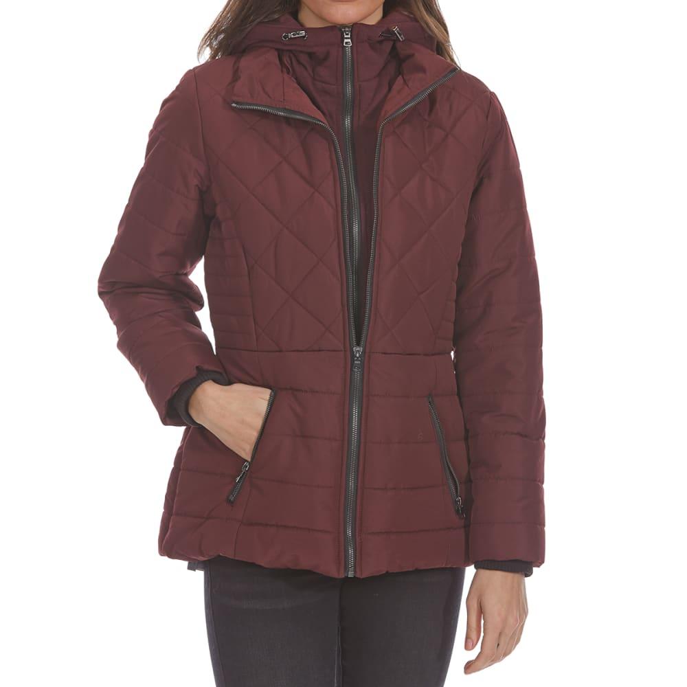 DETAILS Women's Fleece Bib Puffer Jacket - BOURGOGNE