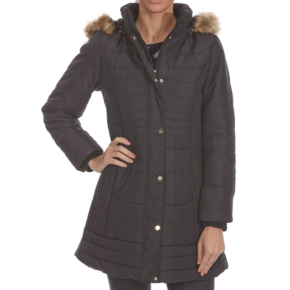 Details Women's 35 In. Hooded Puffer Jacket - Black, L