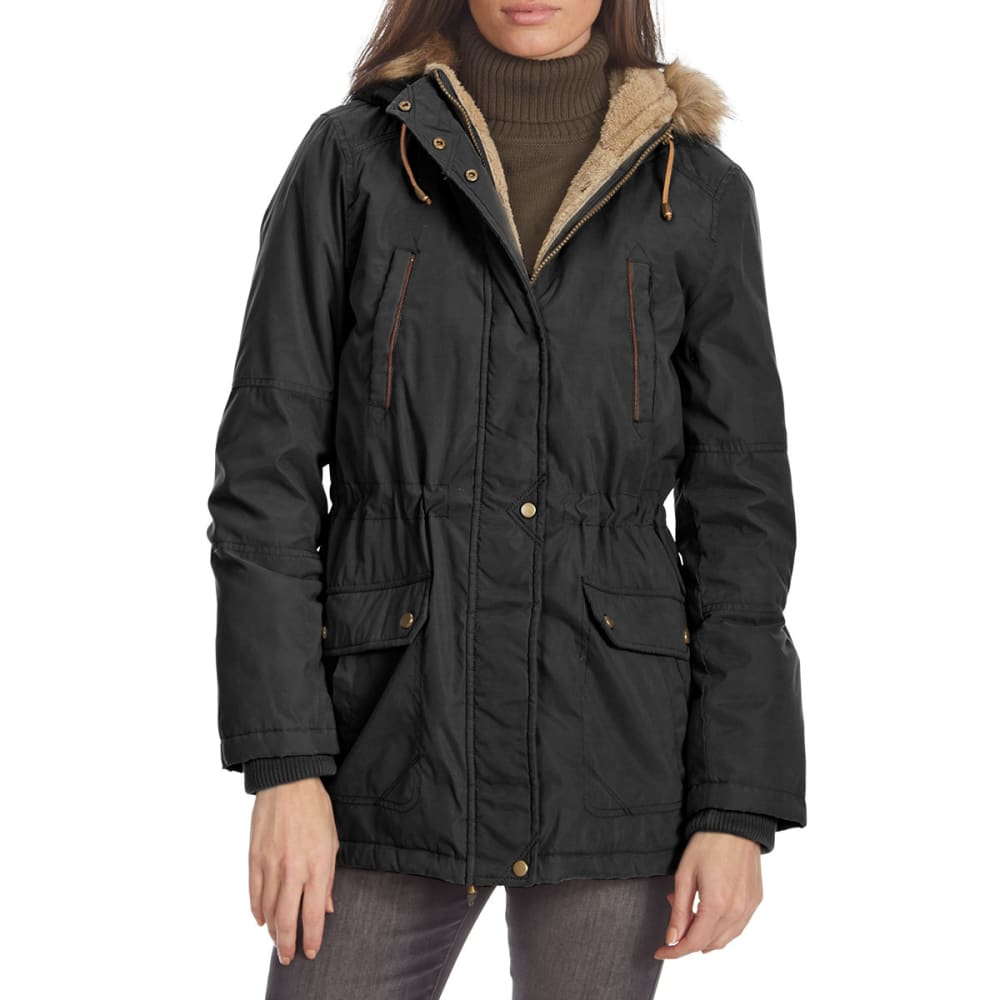 Details Women's Anorak Parka With Fur Hood - Black, S