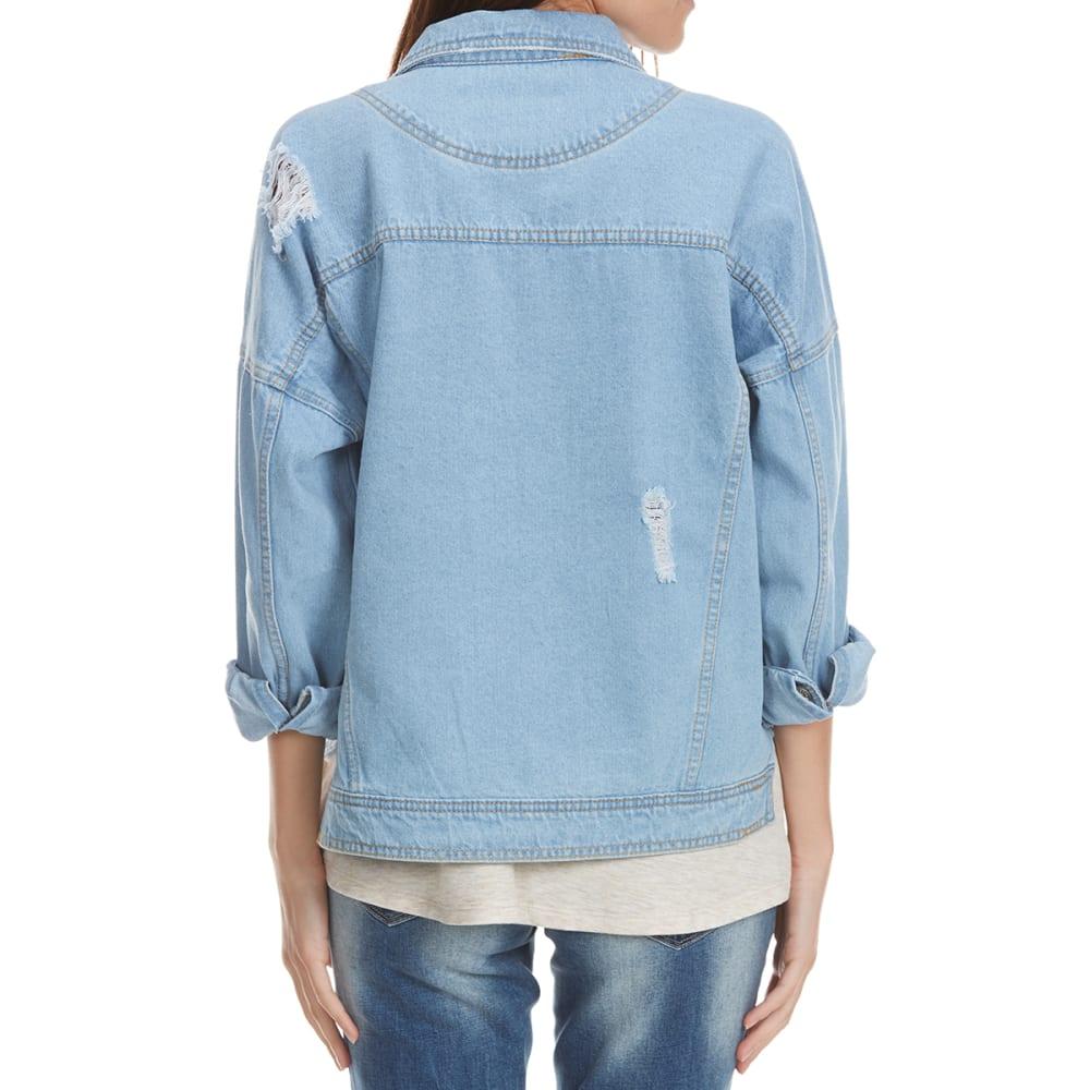 UNIONBAY Juniors' Morrisey Distressed Denim Jacket - BEACH BLUE