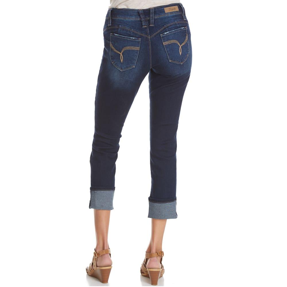 ROYALTY Women's WannaBettaButt Destruction Cuffed Anklet Jeans - S52-DARK WASH
