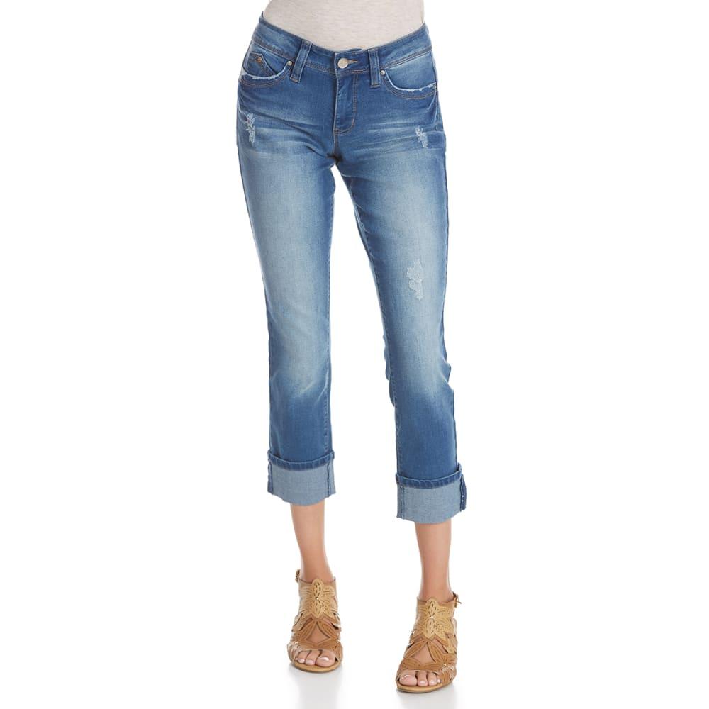 ROYALTY Women's WannaBettaButt Destruction Cuffed Anklet Jeans - M52-MED WASH