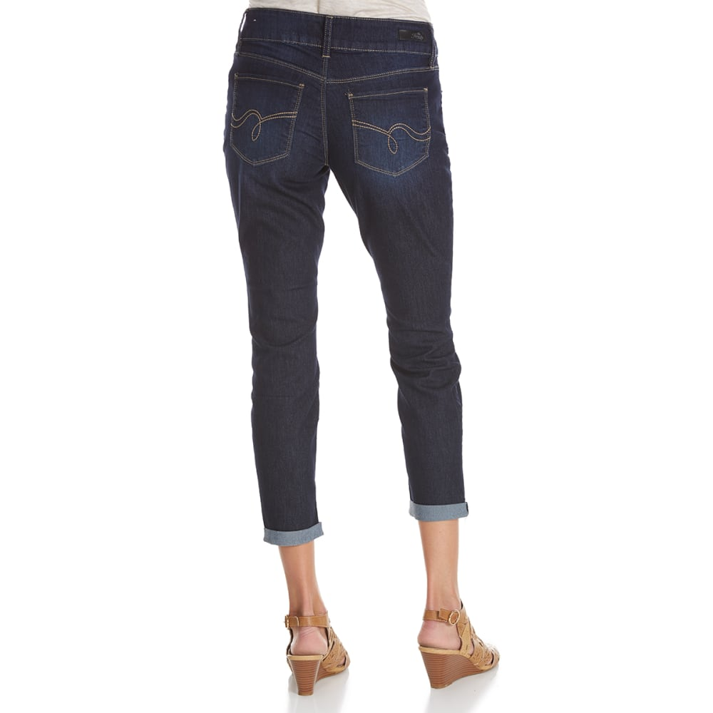 ROYALTY Women's Super Soft 2-Button Cuffed Anklet Jeans - S08-DARK WASH