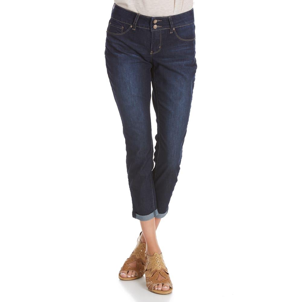 ROYALTY Women's Super Soft 2-Button Cuffed Anklet Jeans - S08-DARK WASH