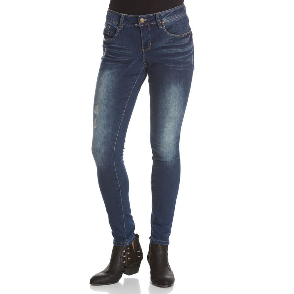 ROYALTY Women's Destructed Skinny Jeans - S595-DARK WASH