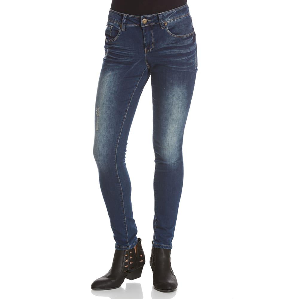 ROYALTY Women's Destructed Skinny Jeans - S595-DARK WASH