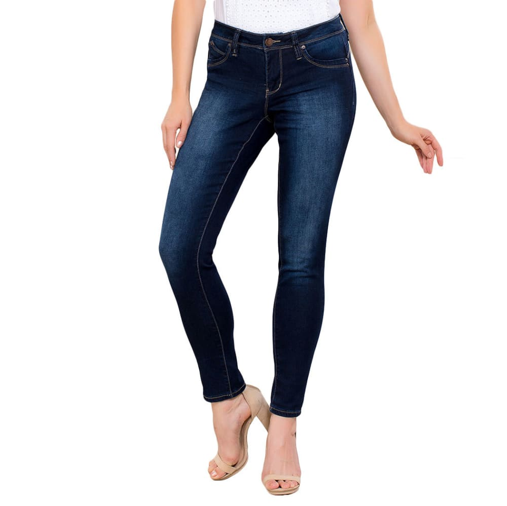 ROYALTY Women's Wanna Betta Butt Single Button Skinny Jeans - S78-DARK WASH
