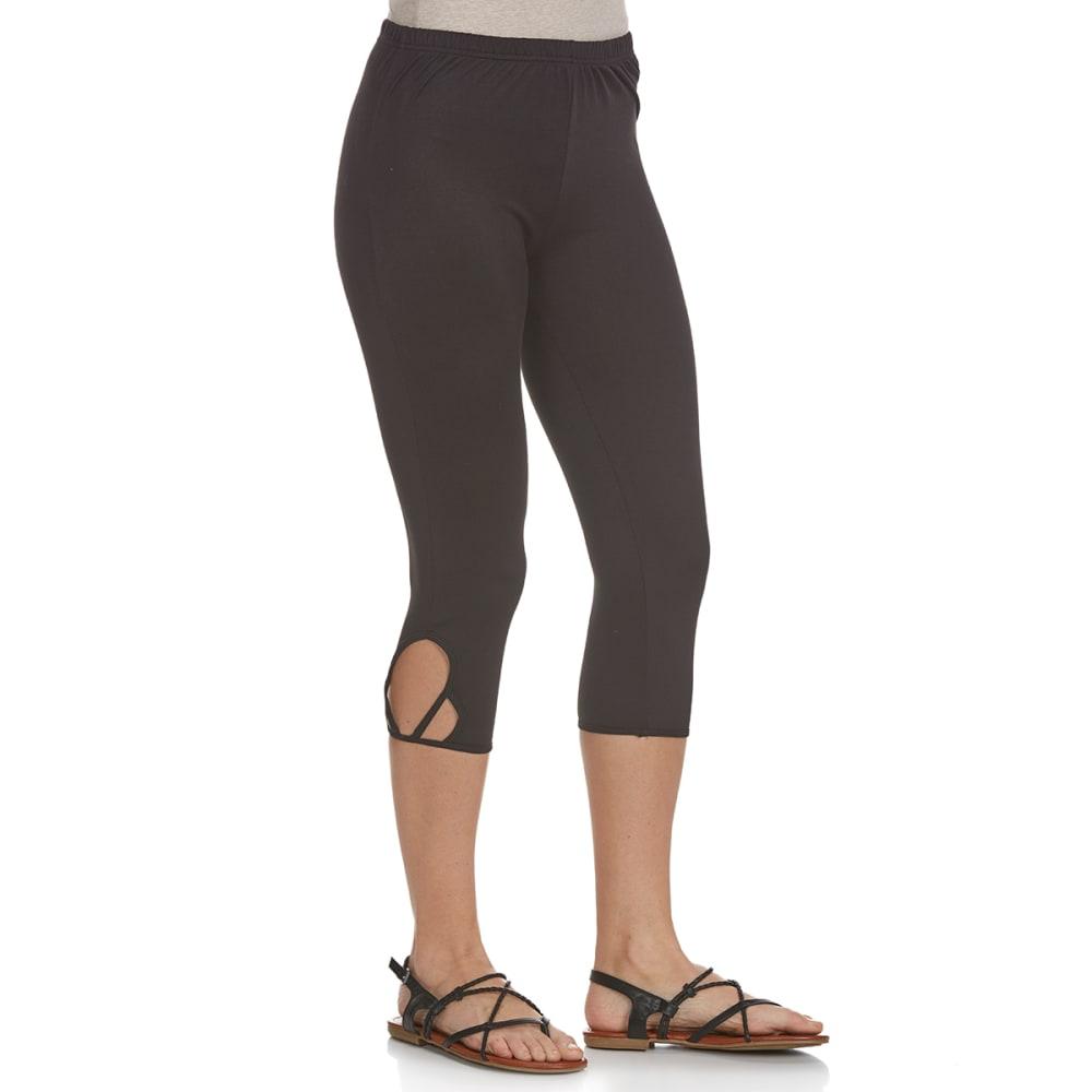 POOF Juniors' Solid Lattice Hem Capri Leggings - BLACK