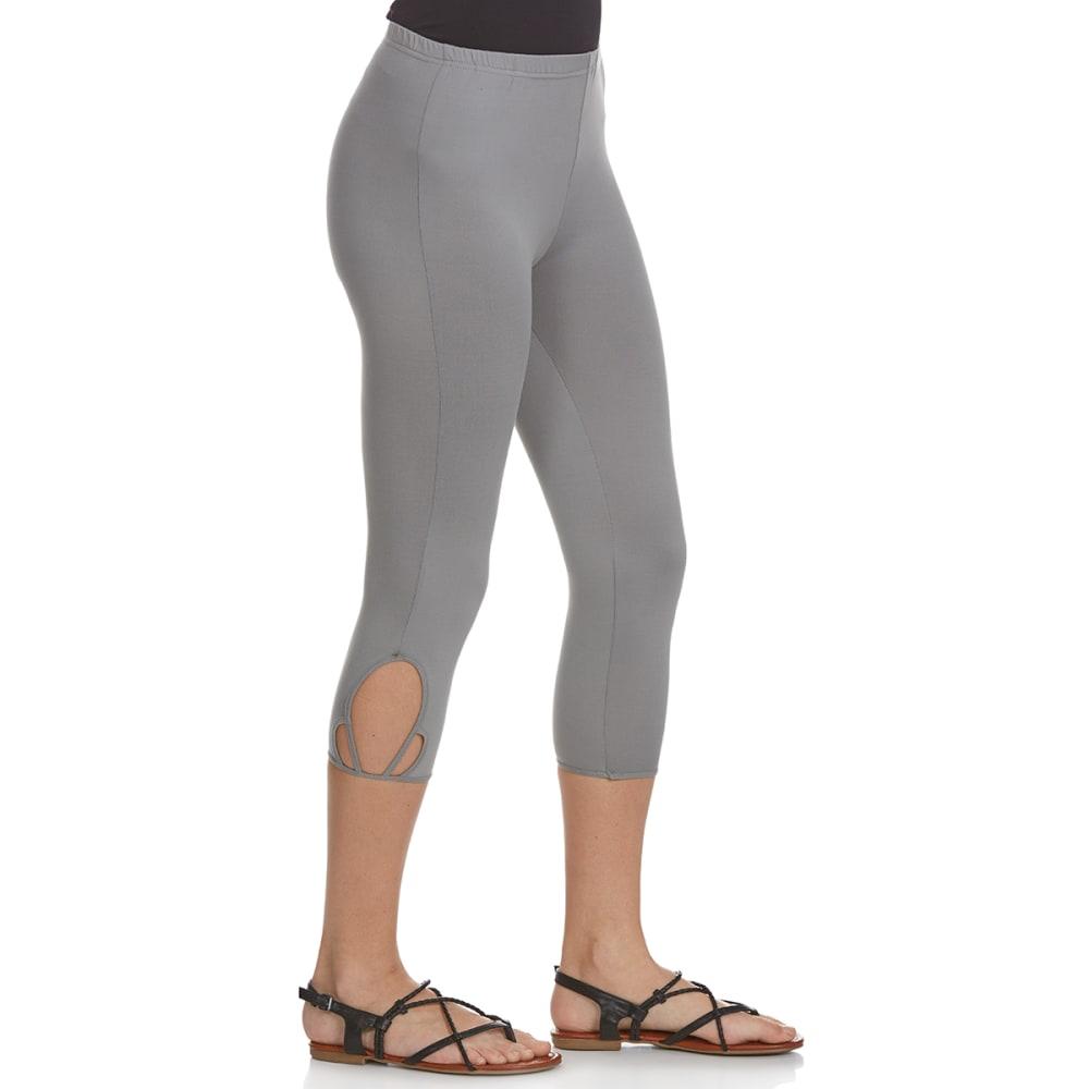 POOF Juniors' Solid Lattice Hem Capri Leggings - HTR GRY